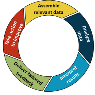 """A circle is divided into sections containing text that reads """"Assemble relevant data,"""" """"Analyze data,"""" """"Interpret results,"""" """"Deliver tailored feedback,"""" """"Take action to improve."""""""