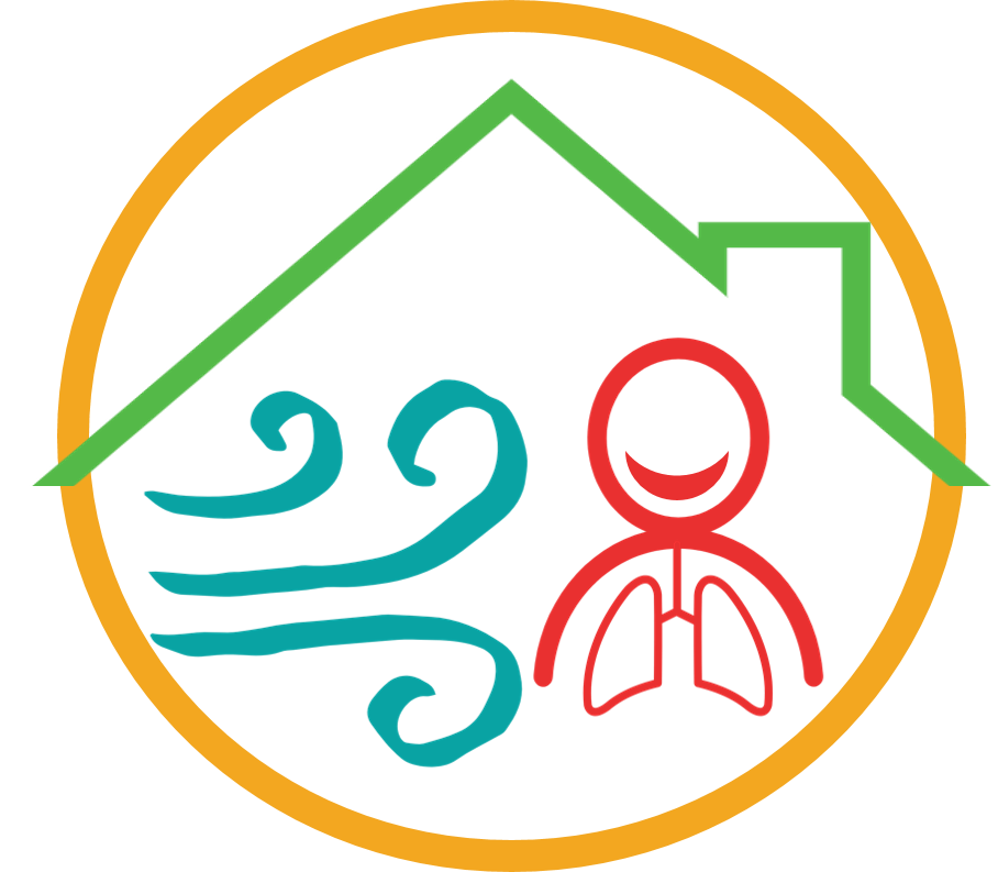 Graphic image depicting wind (blue) under a roof (green) beside a human figure (red), all inside a circle (yellow)
