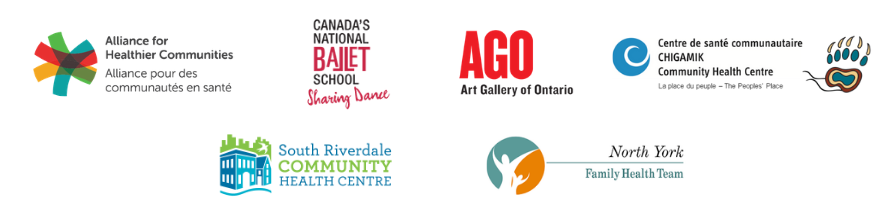 Logos of Alliance, Canada's National Ballet School, AGO, South Riverdale CHC, CSC CHIGAMIK CHC, and North York FHT