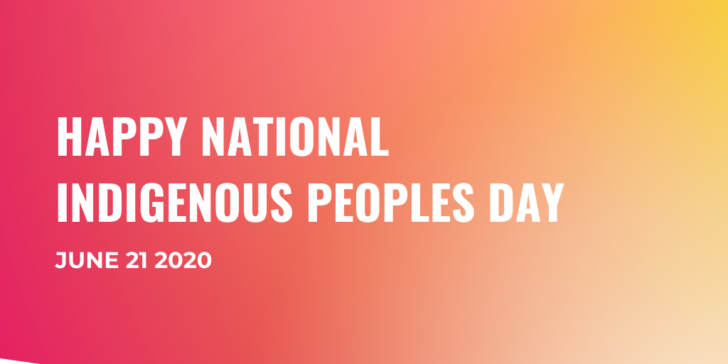 Text graphic that reads: Happy National Indigenous Peoples Day, June 21, 2020