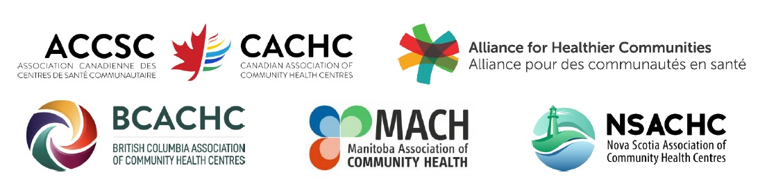 Logos of, from top left, clockwise, Canadian Association of Community Health Centres, Alliance for Healthier Communities, Nova Scotia Association of Community Health Centres, Manitoba Association of Community Health, British Columbia Association of Community Health Centres