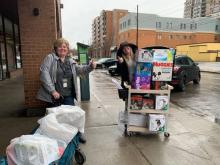 Centretown CHC: Jennifer and Vanessa loading up supplies to bring to families living in a shelter