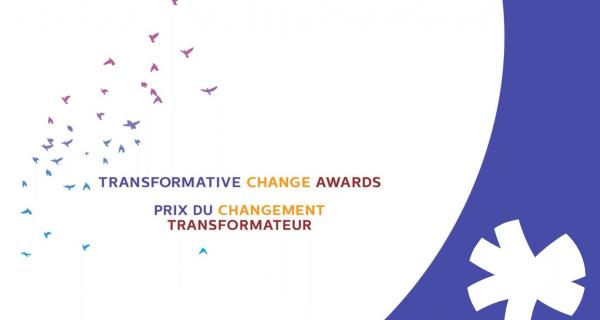 Graphic with illustration of birds flying with words: Transformative Change Awards Prix du changement transformateur